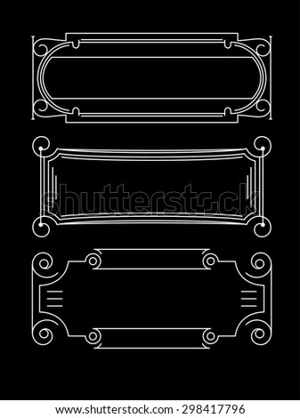 Set of 4 decorative calligraphic frames for shields or labels with spaces for text - stock vector