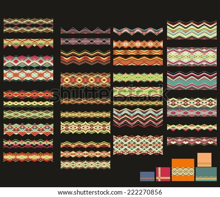 Set of decorative Christmas bands for package design - stock vector