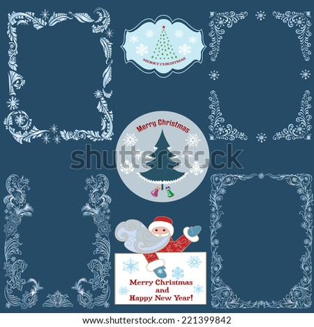 Set of Decorative Christmas cards and border. - stock vector