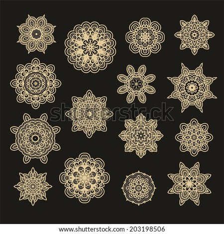 Set of decorative Christmas stars  - stock vector
