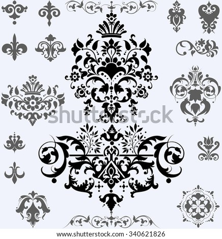 Set of decorative classic floral elements for your design - stock vector