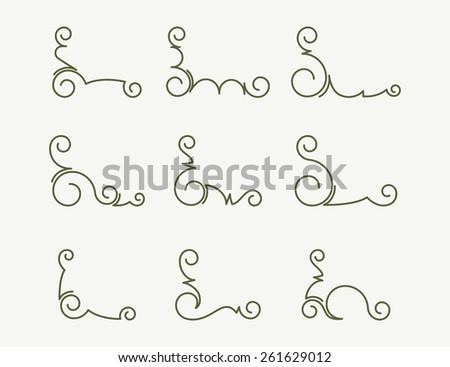 Set of 9 decorative corners. - stock vector