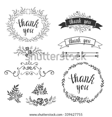 Set decorative design elements embellishments frames stock vector set of decorative design elements embellishments frames borders floral elements botanical stopboris Images
