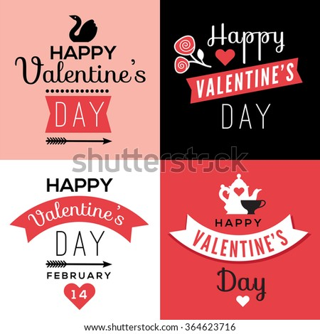 Set of decorative design elements representing Valentine's day related quotes and words. Typographic compositions with romantic symbols, could be used as parts of greeting cards, banners. - stock vector