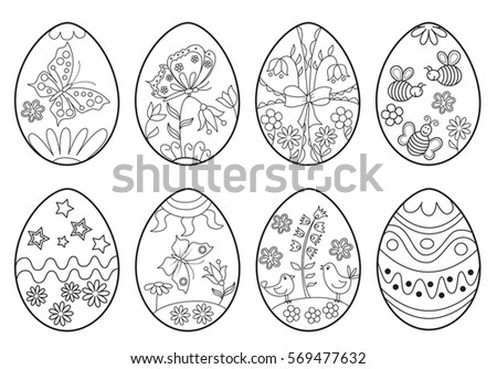 Set Of Decorative Easter Eggs Coloring Page