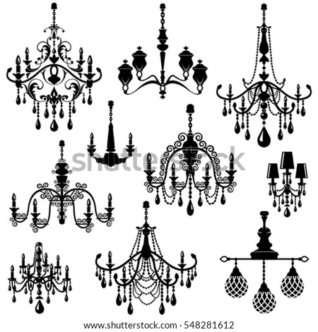 Set decorative elegant luxury vintage crystal vector de set of decorative elegant luxury vintage crystal chandelier icons black silhouette luster isolated on white aloadofball Choice Image
