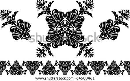 Set of decorative elements, border and flower patterns