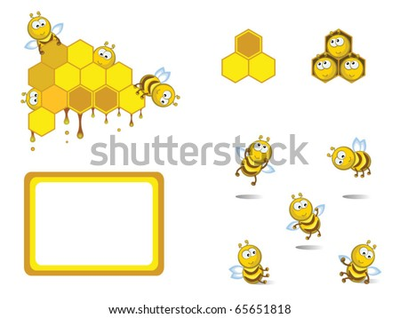 Set of decorative elements. Comical cheerful bees. Medical. Honeycombs.