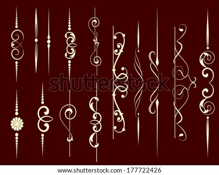 Set of decorative elements for editable and design - stock vector