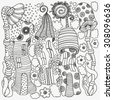 Set of decorative elements in vector. Fantasy fairy houses in the magic forest. Pattern for coloring book. Mushrooms, flowers, sun. Black and white pattern. Sketch by trace. Zentangle. - stock vector
