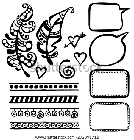 Set of decorative elements (ornaments): feathers, hearts, frames, dialogs (clouds), brushes, doodles, curlicues. Hand-drawn.  - stock vector