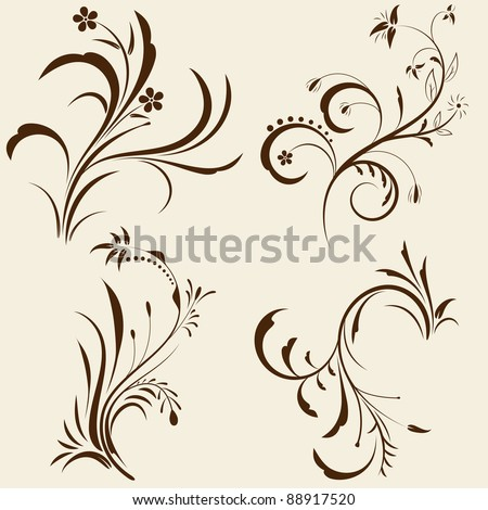 Set of decorative floral ornament with design elements. Vector illustration. - stock vector