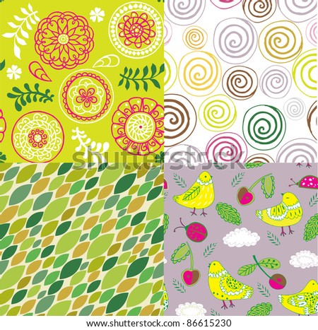 set of decorative floral seamless backgrounds