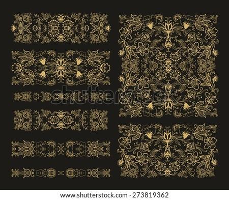 Set of decorative flourish square compositions  - stock vector