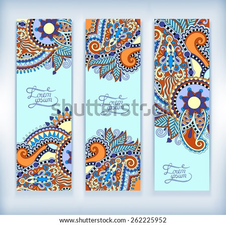 set of decorative flower template banner, card, web design with place for your text, vector illustration in blue color - stock vector