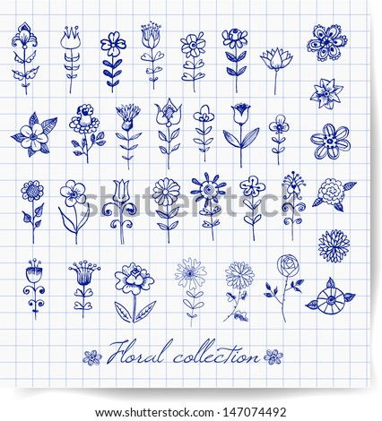 Set of decorative flowers for your design. Pen sketch flowers. Stylized vector illustration.  - stock vector