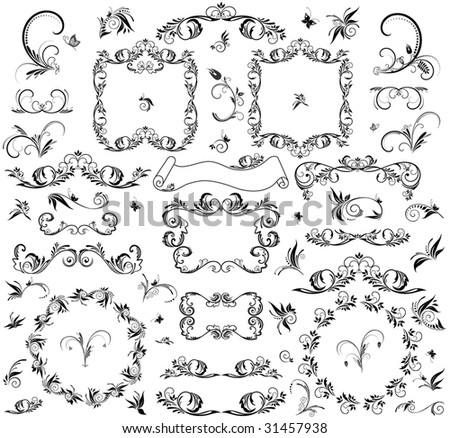 Set of decorative frame and design element - stock vector
