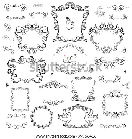 set of decorative frame and design elements