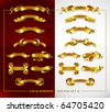 set of decorative gold banners on red and white background vector illustration - stock photo