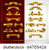 set of decorative gold banners on red and white background vector illustration - stock vector