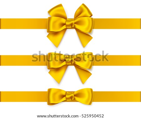 Set of decorative golden bows with horizontal ribbons isolated on white. Vector yellow bow for page decoration