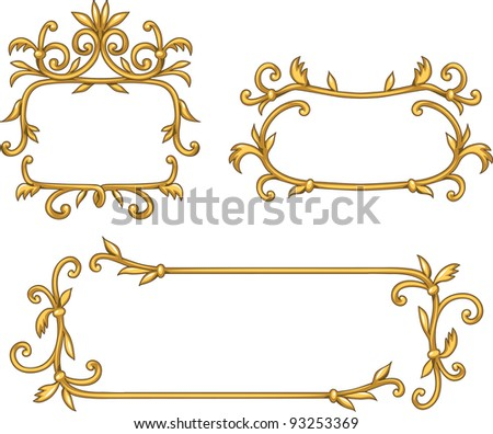 Set of decorative golden frames - stock vector