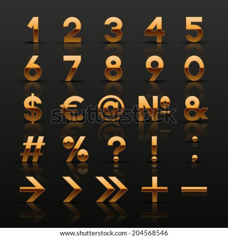 Set of decorative golden numbers and symbols. Vector illustration.  - stock vector