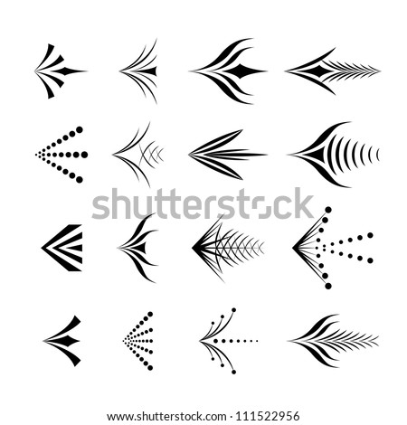 Set of decorative graphical arrows - stock vector