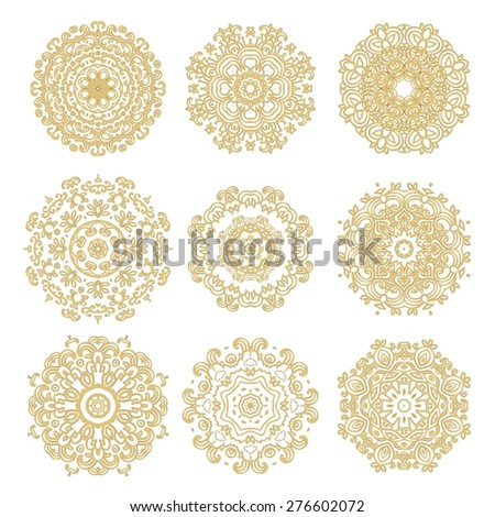 Set of decorative isolated rosettes - stock vector