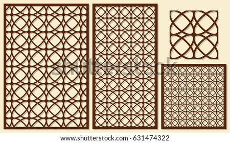 set decorative panels laser cutting classical stock vector royalty