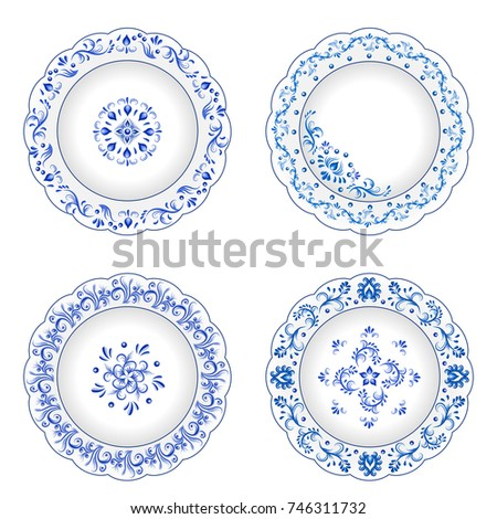 Set of decorative porcelain plates ornate with blue floral ornament pattern in traditional Russian style Gzhel  sc 1 st  Shutterstock & Set Decorative Porcelain Plates Ornate Blue Stock Vector 746311732 ...