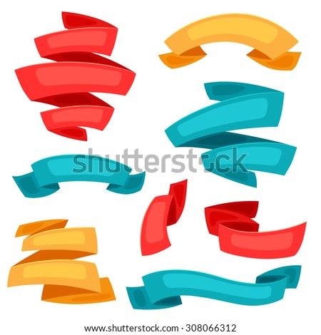 Set of decorative ribbons and banners in cartoon style. - stock vector