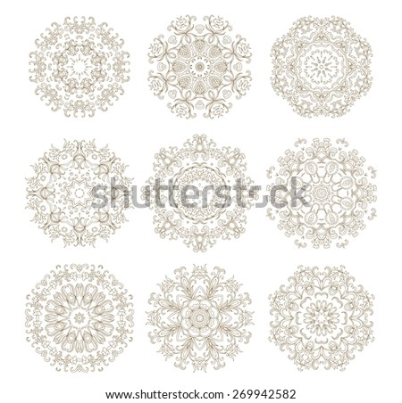 Set of decorative rosettes - stock vector