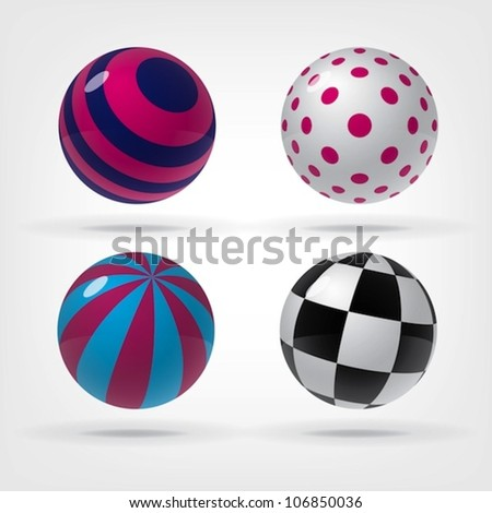 Set of decorative spheres for graphic design, you can change colors - stock vector