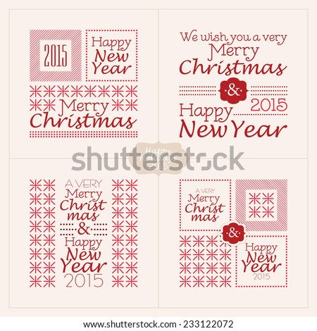 Set of decorative text compositions on Winter Holidays theme. Merry Christmas and Happy New Year - stock vector