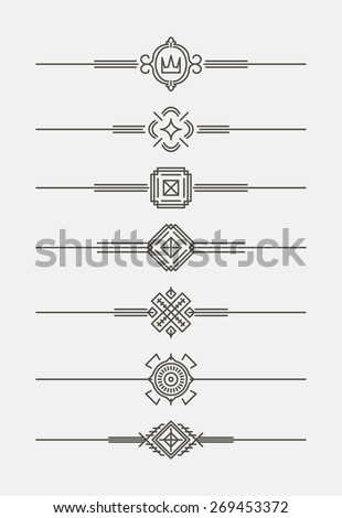 Set of 7 decorative text dividers in mono line style. - stock vector