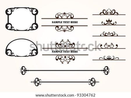 Set of decorative vector frames and design elements with sample text - stock vector