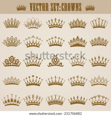 Set of decorative victorian gold crowns for design. In vintage style. Vector illustration. - stock vector