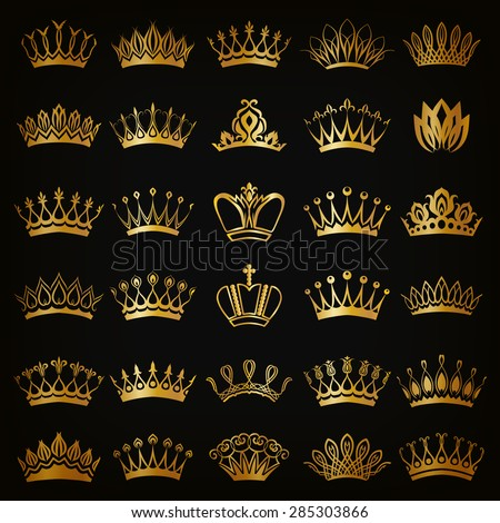 Set of decorative victorian golden crowns for design on black background. In vintage style. Vector illustration EPS 10.
