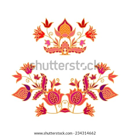 Set of decorative vignettes with pomegranates - stock vector