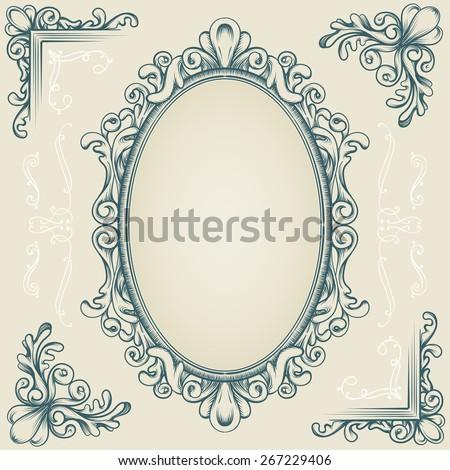 set of decorative vintage design elements - stock vector
