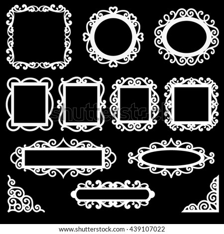 Set of decorative vintage frames, corners and borders for you design.  - stock vector