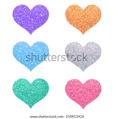 Set of decorative violet, pink, gold, green, blue, silver glitter texture isolated hearts on white background. Romantic shiny icons with sparkles for valentine's day, design, card, scrapbook, party.  - stock vector