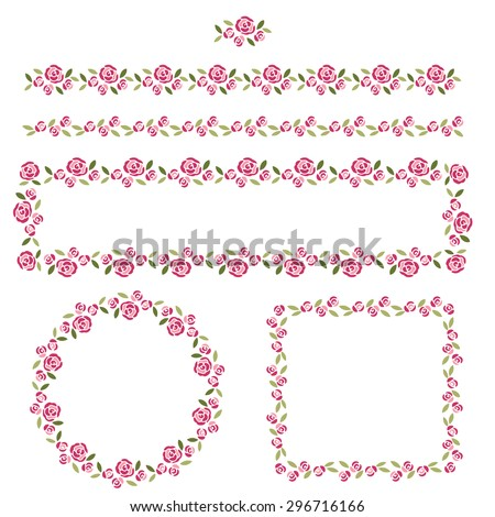 Set of delicate pattern brushes and frames - stock vector