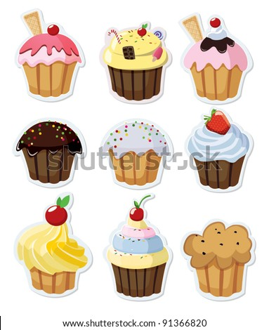 Set of delicious cupcakes isolated on white background - stock vector
