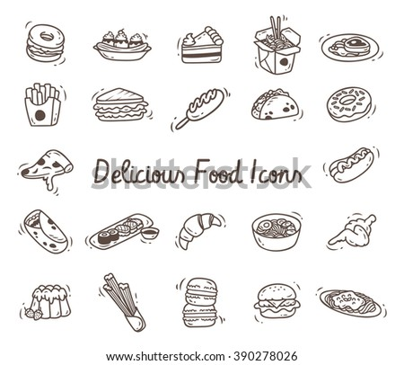 Set of delicious food icon in doodle style - stock vector