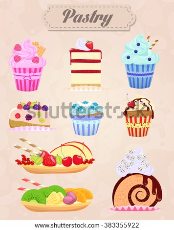 Set of delicious food icons. Cakes and Pastry Vector Illustration. Vintage style. Cakes Pastry set, Cakes Pastry illustration, Cakes Pastry vintage, Cakes Pastry image, Cakes Pastry bakery. - stock vector
