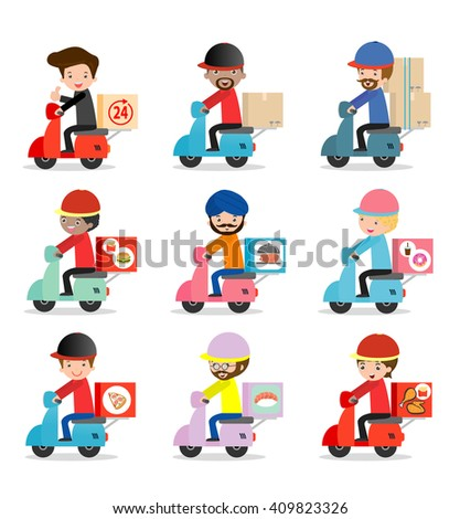 set of delivery service, delivery man is riding motor bike,Transport, man hipster is riding motorbike,modern design flat character people, graphic vector illustration, delivery business concept - stock vector
