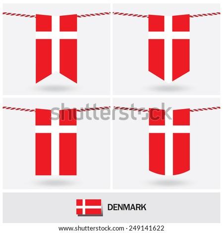Set of Denmark flag. vector illustration  - stock vector