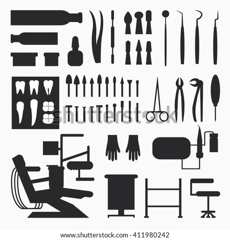 Set of dentist tools and equipments. Dental office, implants and dental care. - stock vector